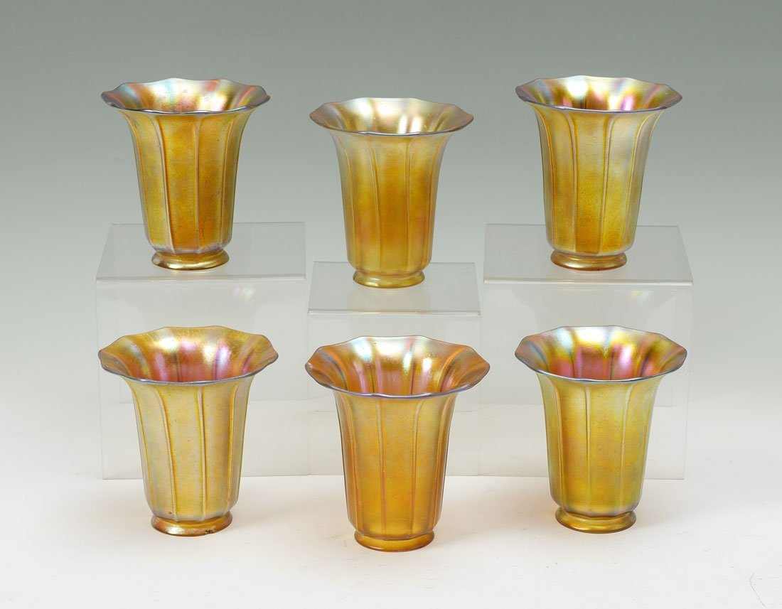 LOT OF 6 SIGNED STEUBEN AURENE ART GLASS SHADES