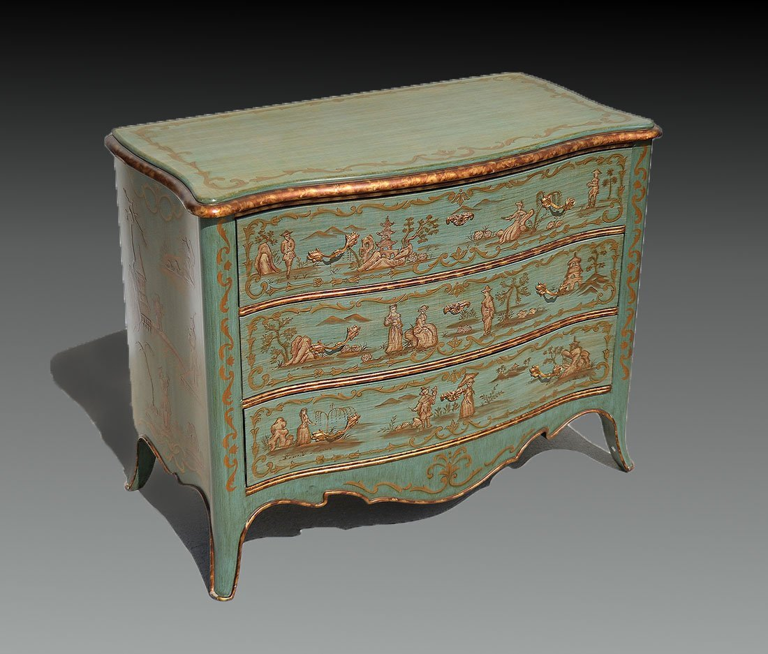 CONTEMPORARY 3 DRAWER PAINT DECORATED DRESSER