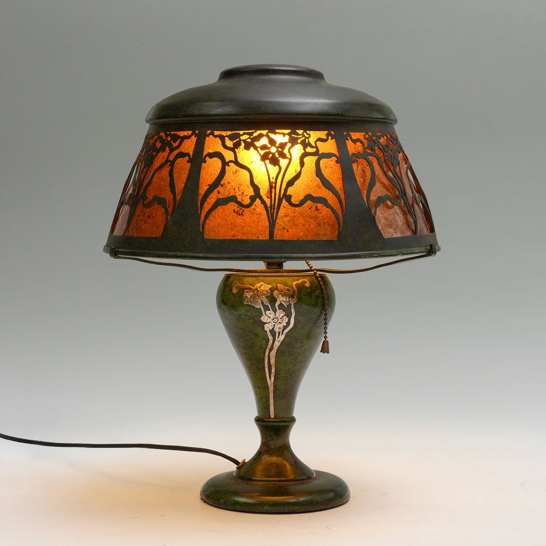 HEINTZ STERLING ON BRONZE MICA SHADE LAMP