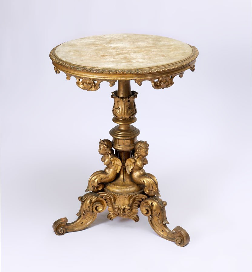 RENAISSANCE REVIVAL CARVED GILT WOOD LAMP TABLE