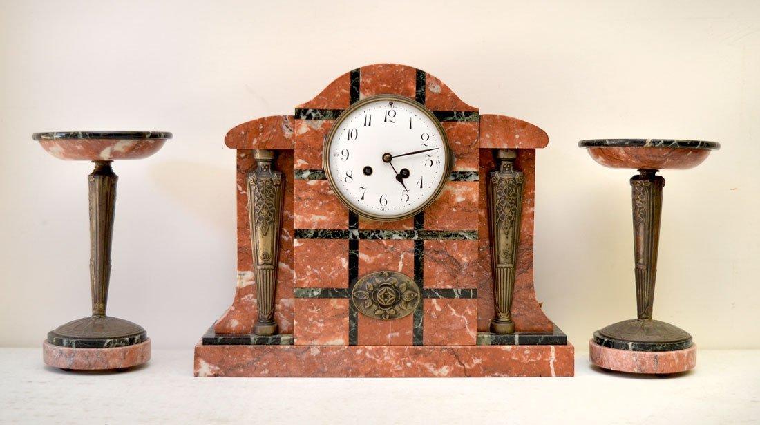 3 PIECE ART DECO MARBLE MANTLE CLOCK & GARNITURE