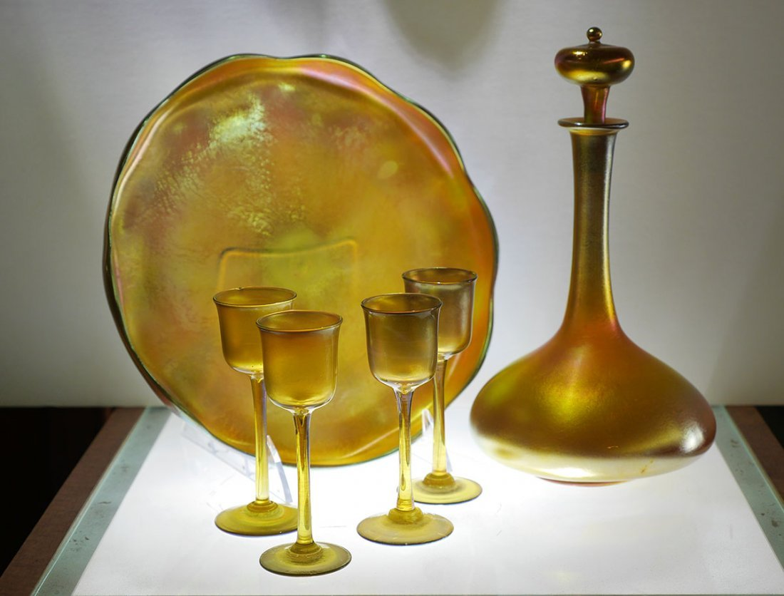 6 PIECE TIFFANY FAVRILE GLASS CABARET SET