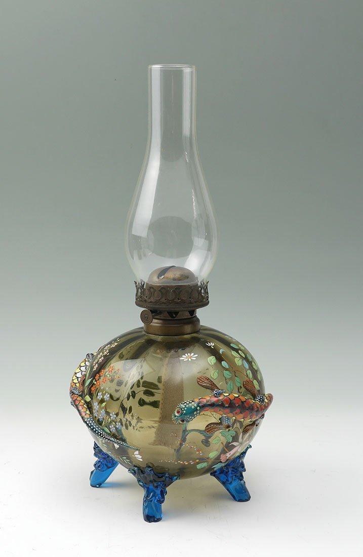 RARE MOSER ENAMEL DECORATED SALAMANDER OIL LAMP