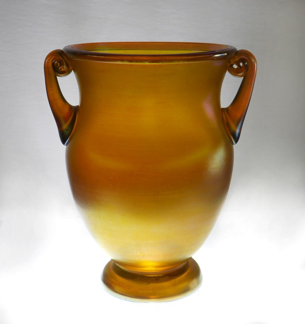 TIFFANY FAVRILE DOUBLE HANDLE ART GLASS VASE