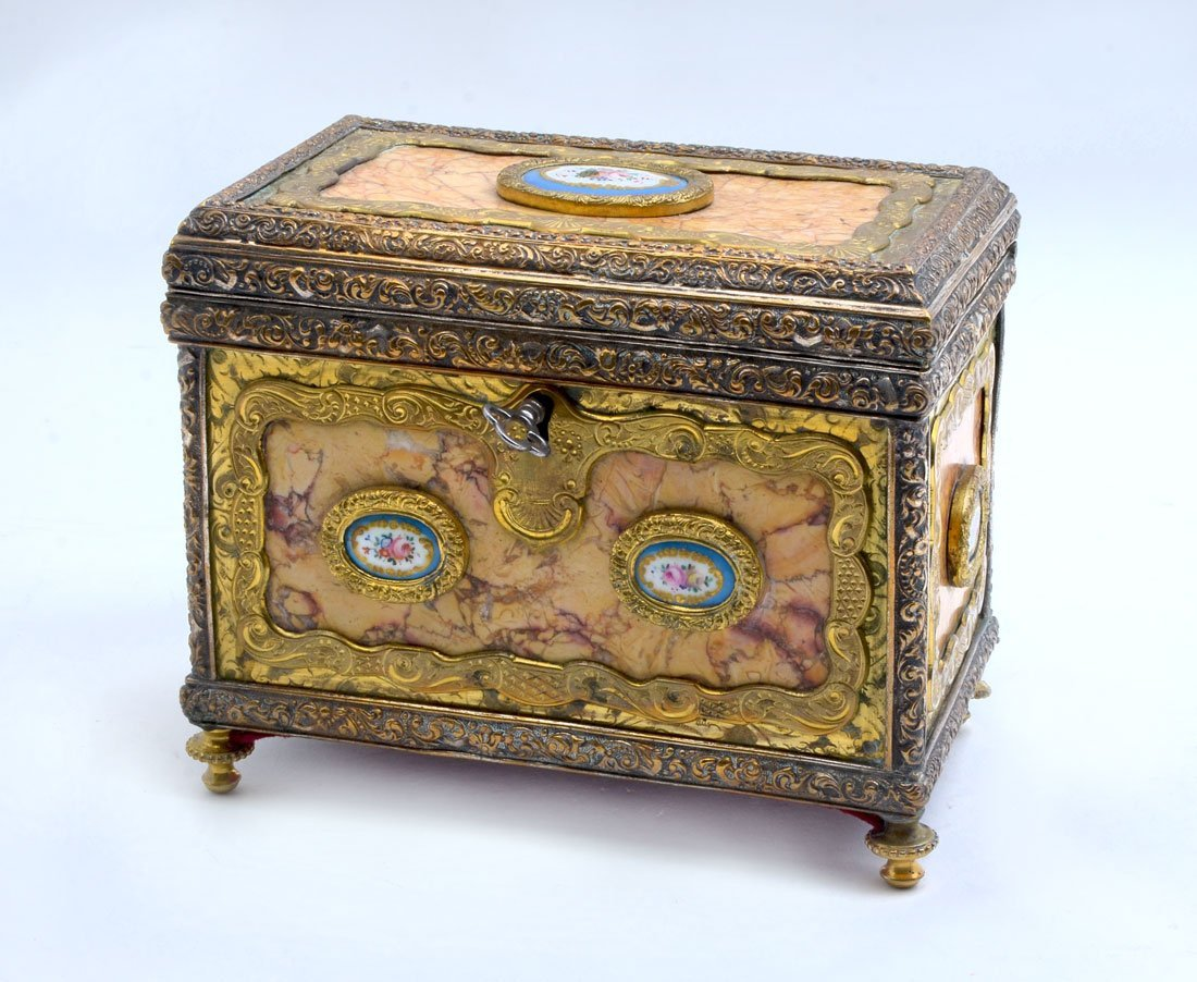 FRENCH ORMOLU, PORCELAIN, AND MARBLE DRESSER BOX