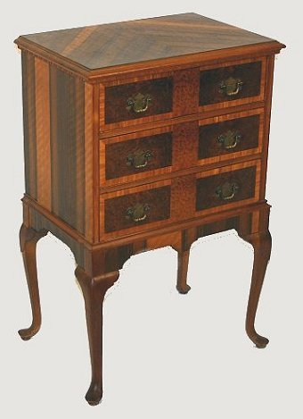 11: DIMINUTIVE QUEEN ANNE STYLE CHEST BURLED WOOD