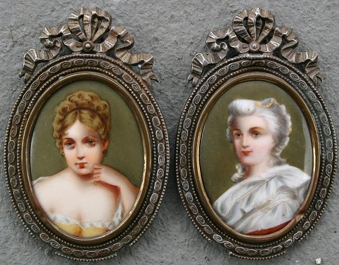 13: 2 EARLY 20TH C MINIATURE PAINTINGS ON PORCELAIN