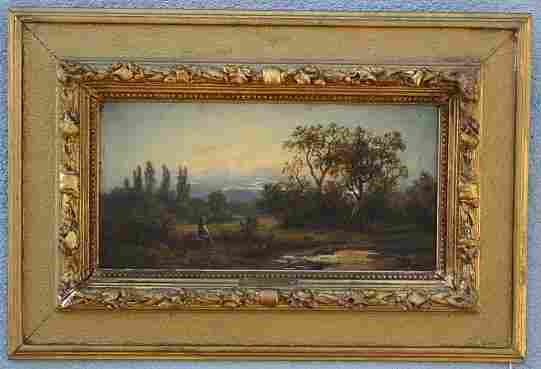 19TH C EUROPEAN LANDSCAPE PAINTING SIGNED TICCINO