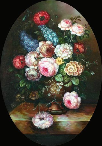 456: CONTEMPORARY OLD MASTER STYLE FLORAL PAINTING