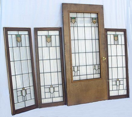 225: ARTS & CRAFTS STAINED GLASS DOOR W/ 3 SIDE LIGHTS