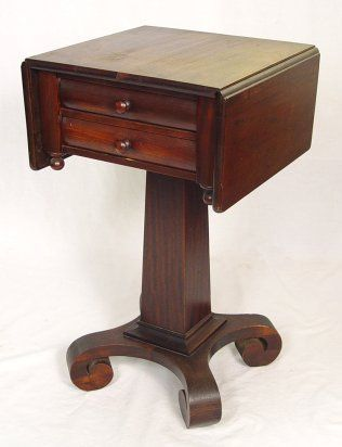 MAHOGANY EMPIRE TWO DRAWER WORK STAND