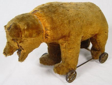 1: TEDDY BEAR ON WHEELS attrib to STEIFF