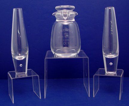 STEUBEN CRYSTAL VASES AND DECANTER