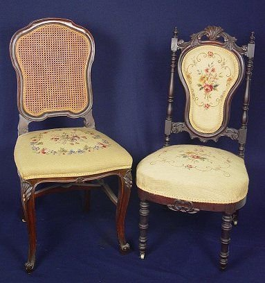 437: TWO NEEDLEPOINT CHAIRS VICTORIAN