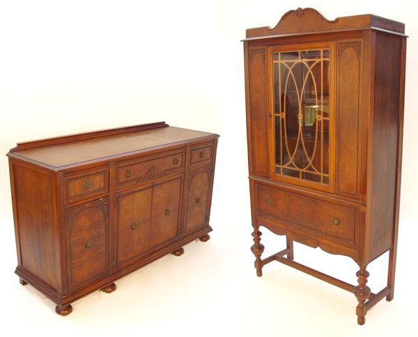 1008: 1930'S SIDEBOARD AND CHINA CABINET