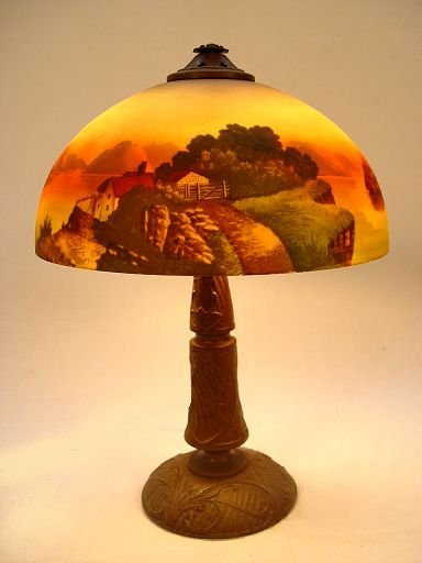 1023: VINTAGE REVERSE PAINTED TABLE LAMP