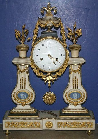1080: FRENCH MARBLE PILLAR CLOCK