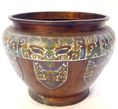 1017: LARGE CHINESE CHAMPLEVE  JARDINIERE