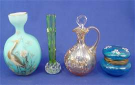 1319 4 pc ENAMELLED ART GLASS VASE CRUET  JAR