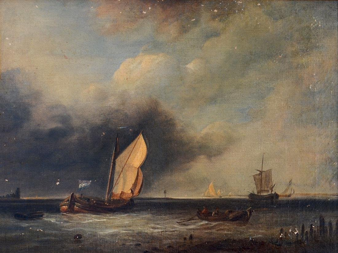 19th C. DUTCH SCHOOL PAINTING FISHING BOATS