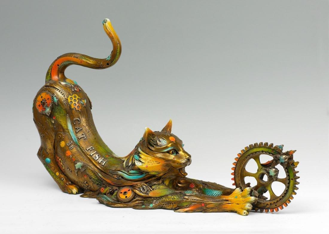 LARGE NANO LOPEZ BRONZE ''CAT FISH LILY''