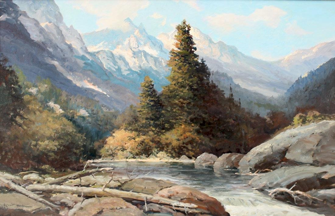 LARGE ROBERT WOOD SNAKE RIVER WYOMING PAINTING