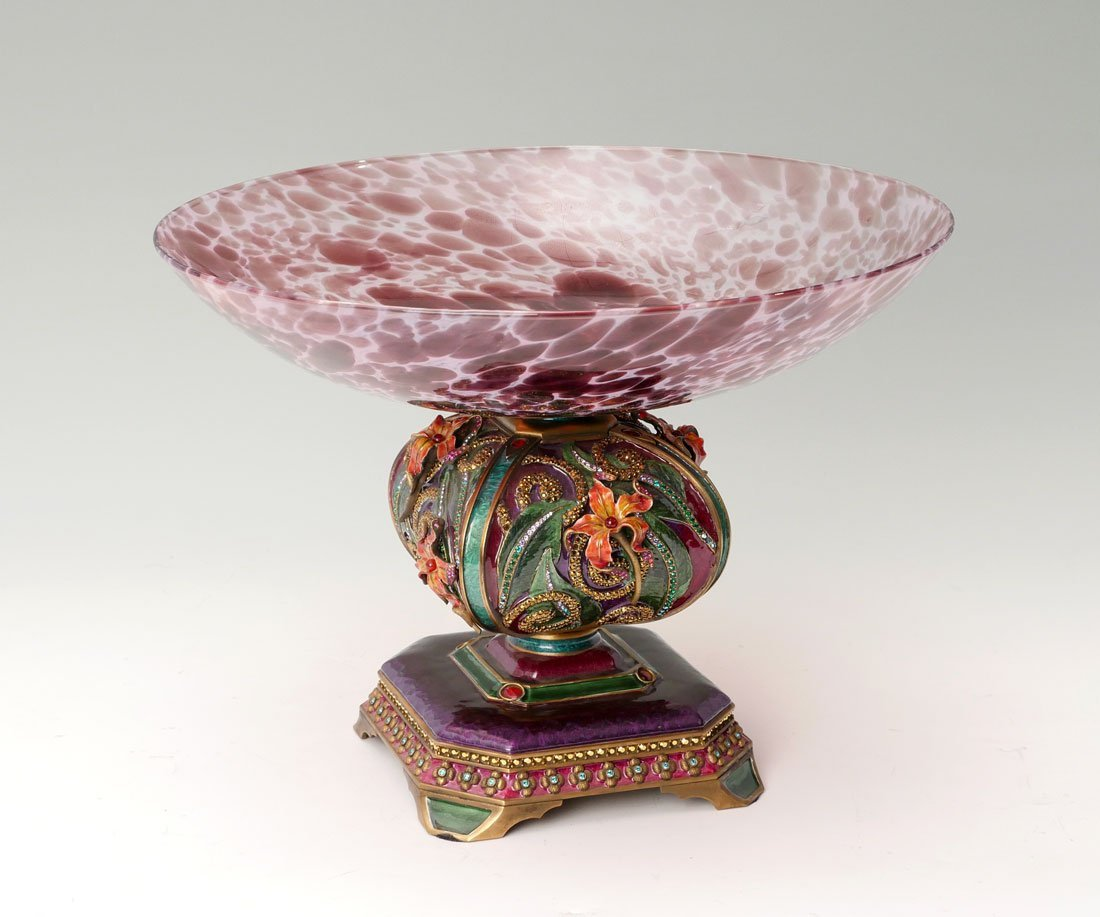 JAY STRONGWATER ENAMEL & GLASS COMPOTE