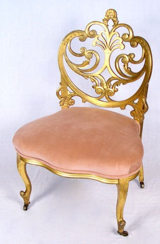 5: FRENCH VICTORIAN ERA CARVED GILTWOOD PARLOR CHAIR