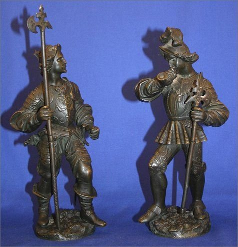 6: PAIR OF VERY EARLY SOLDIER BRONZES