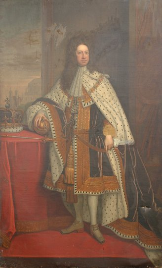 45: LIFE SIZE KING GEORGE I PAINTING AFTER KNELLER
