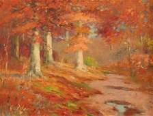 260 GEORGE H BAKER INDIANA AUTUMN PAINTING