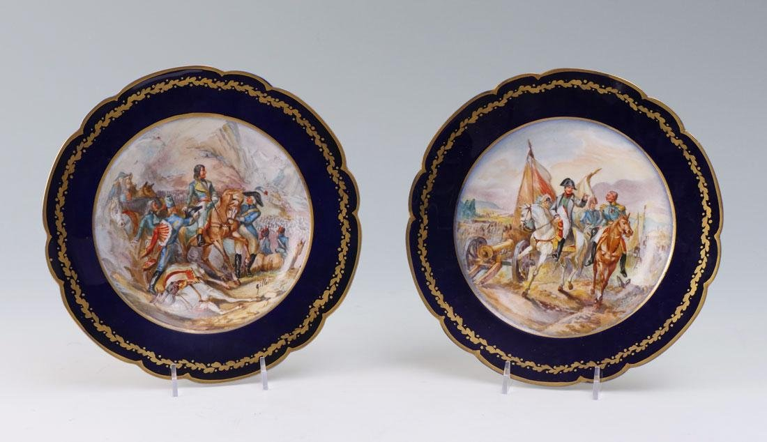 PAIR OF SEVRES HAND PAINTED BOWLS SIGNED GILLET