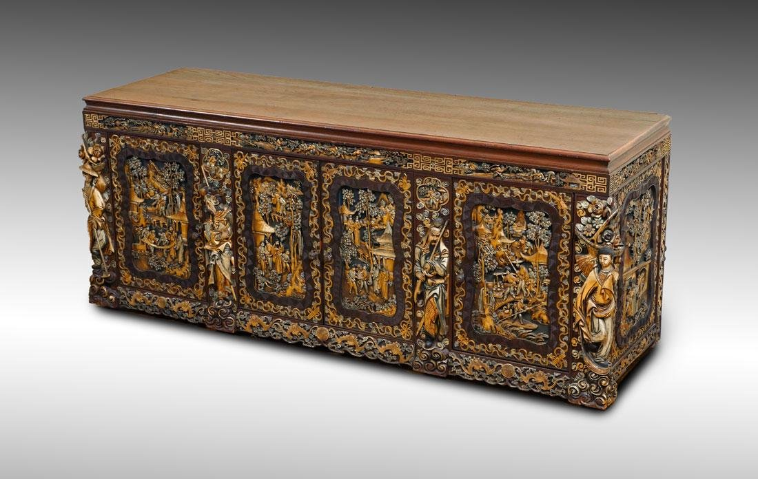 SHIRLEY TEMPLE BLACK'S CHINESE CARVED SIDEBOARD