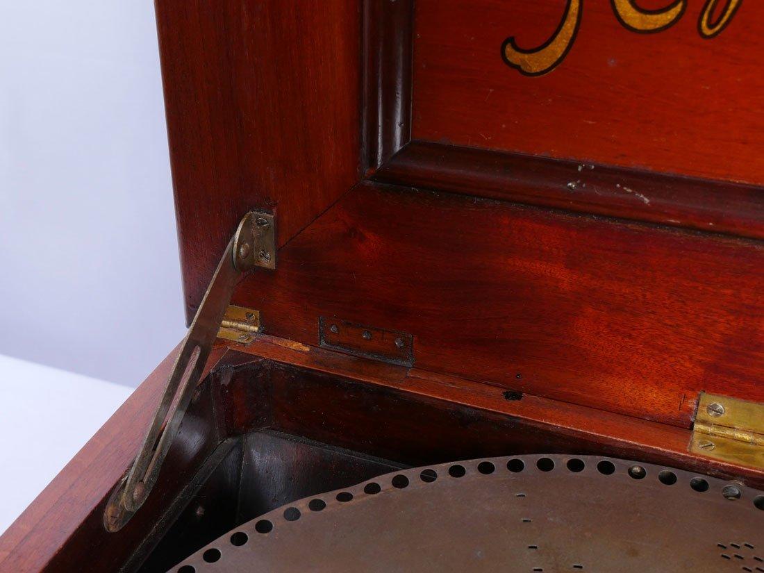 MAHOGANY REGINAPHONE MUSIC BOX AND STAND - 7