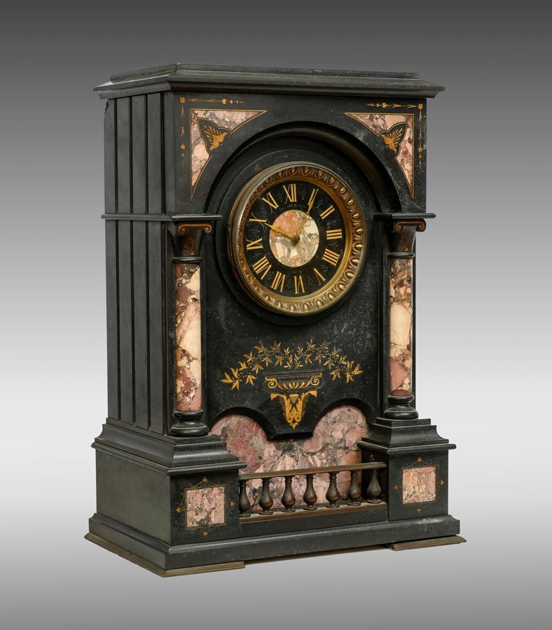 THEODORE B. STARR SLATE AND MARBLE MANTLE CLOCK
