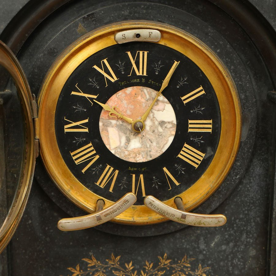 THEODORE B. STARR SLATE AND MARBLE MANTLE CLOCK - 2