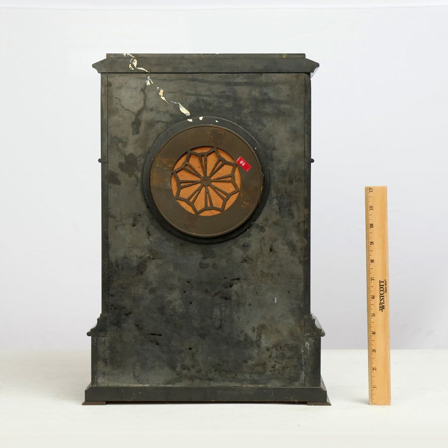 THEODORE B. STARR SLATE AND MARBLE MANTLE CLOCK - 3