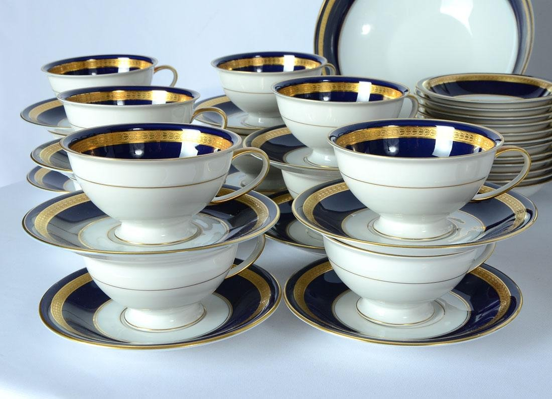 115 pc ROSENTHAL EMINENCE COBALT BLUE DINNER CHINA - 6
