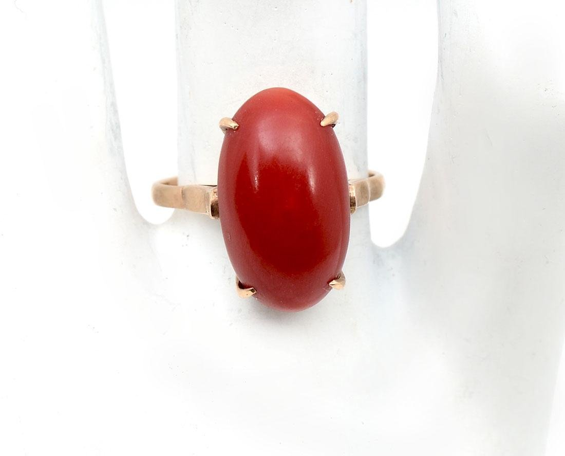 18K RED CORAL RING