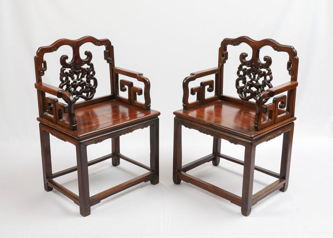 2 HEAVY ROSEWOOD CHINESE ARM CHAIRS HUANGHUALI