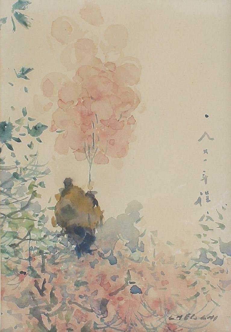 CHEN CHI PINK BLOSSOMS PAINTING