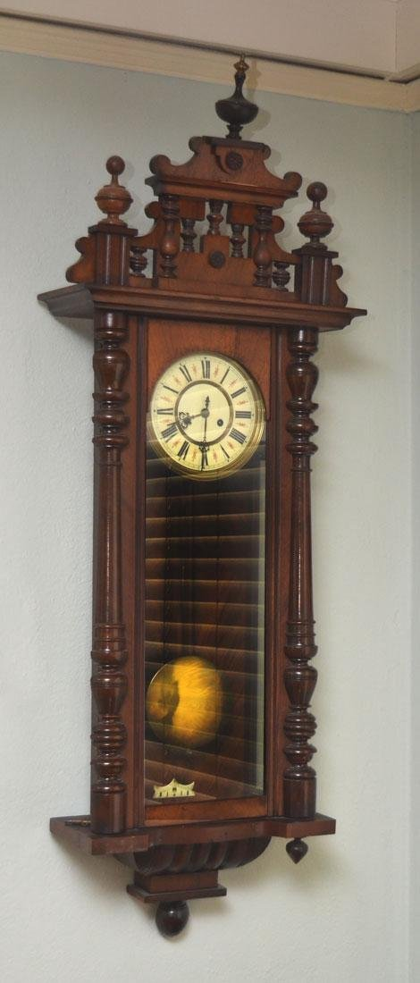 GUSTAV BECKER CARVED GERMAN WALL CLOCK