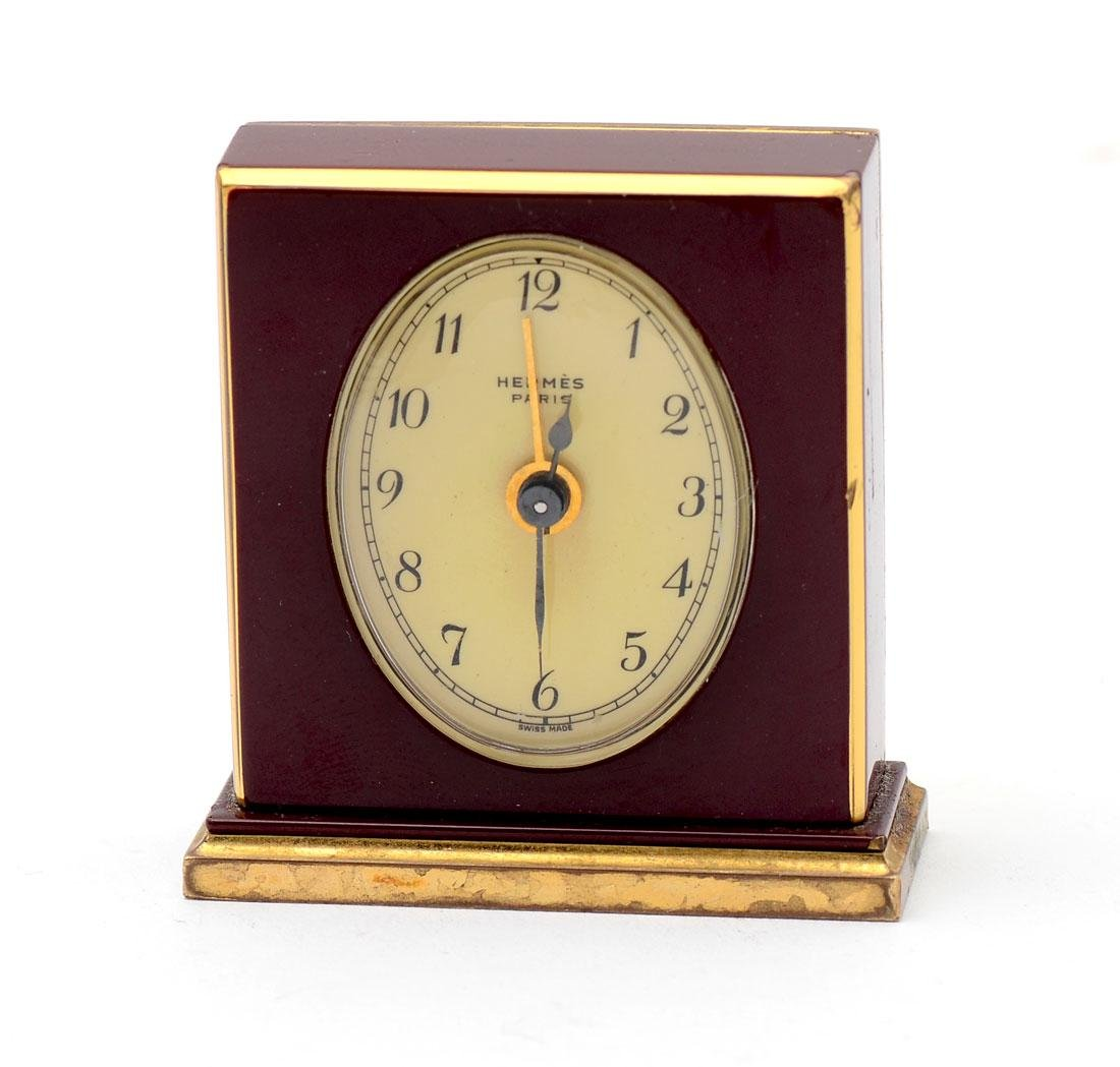 HERMES PARIS COMPACT TRAVEL CLOCK IN SUEDE CASE