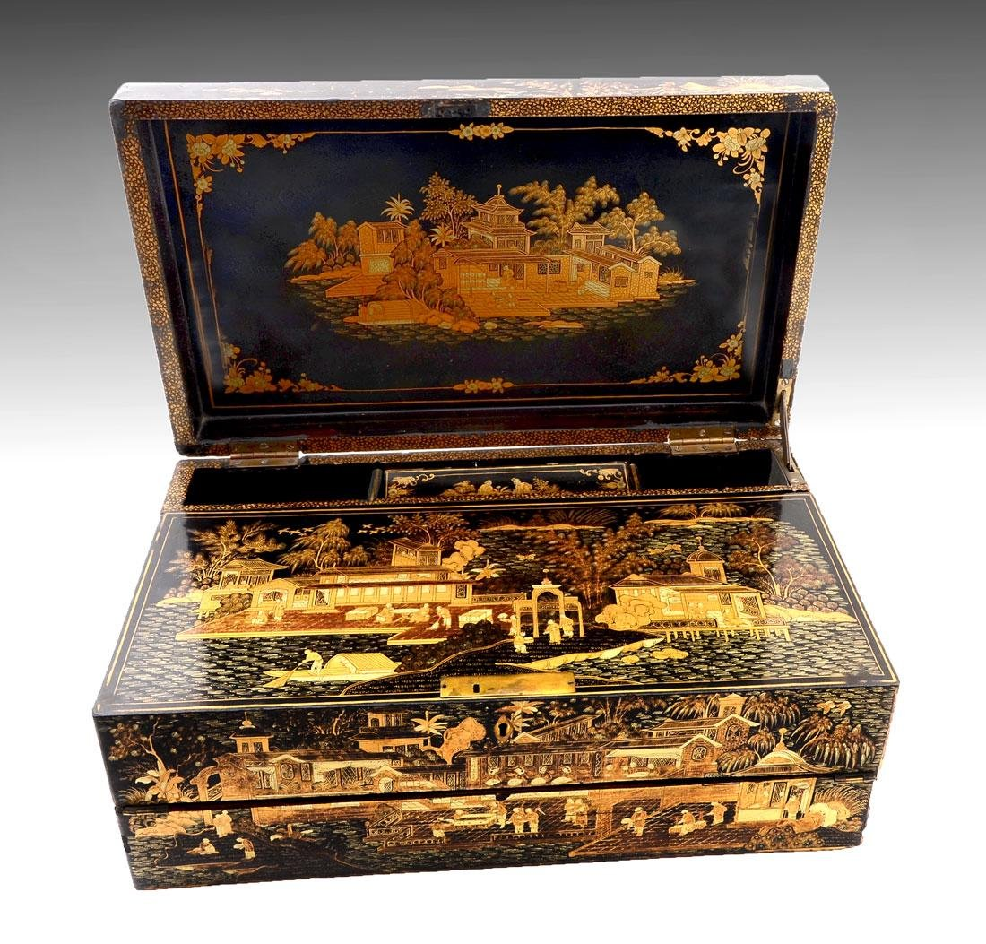 19TH C. BLACK LACQUER AND CHINOISERIE LAP DESK