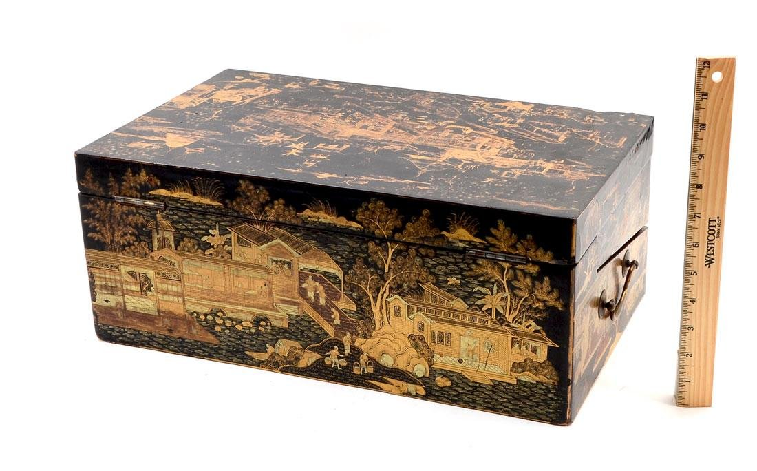 19TH C. BLACK LACQUER AND CHINOISERIE LAP DESK - 4