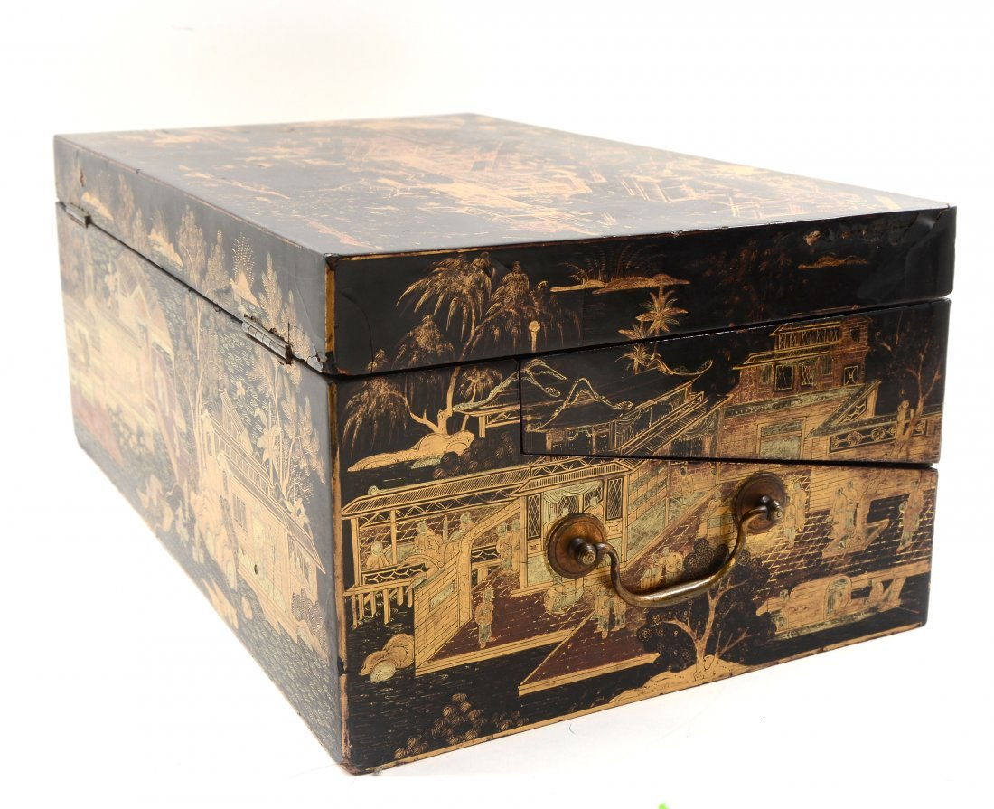 19TH C. BLACK LACQUER AND CHINOISERIE LAP DESK - 7