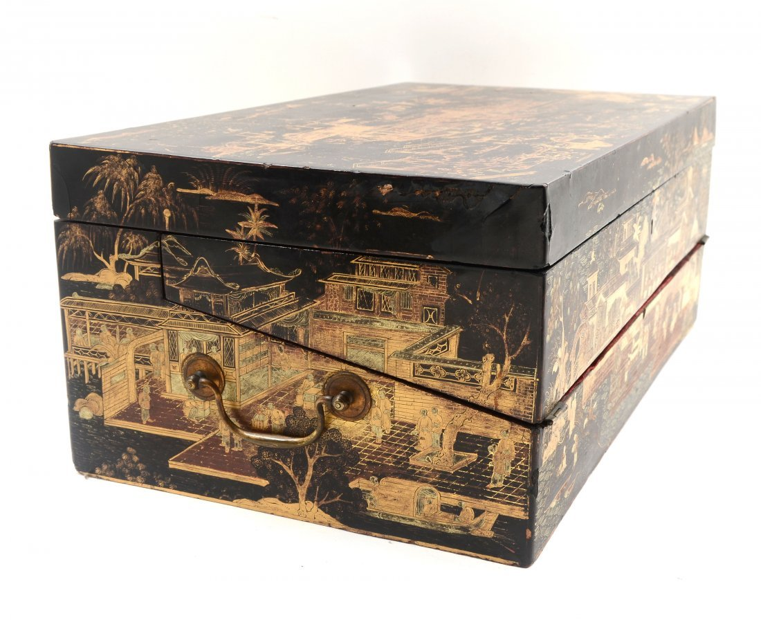 19TH C. BLACK LACQUER AND CHINOISERIE LAP DESK - 8