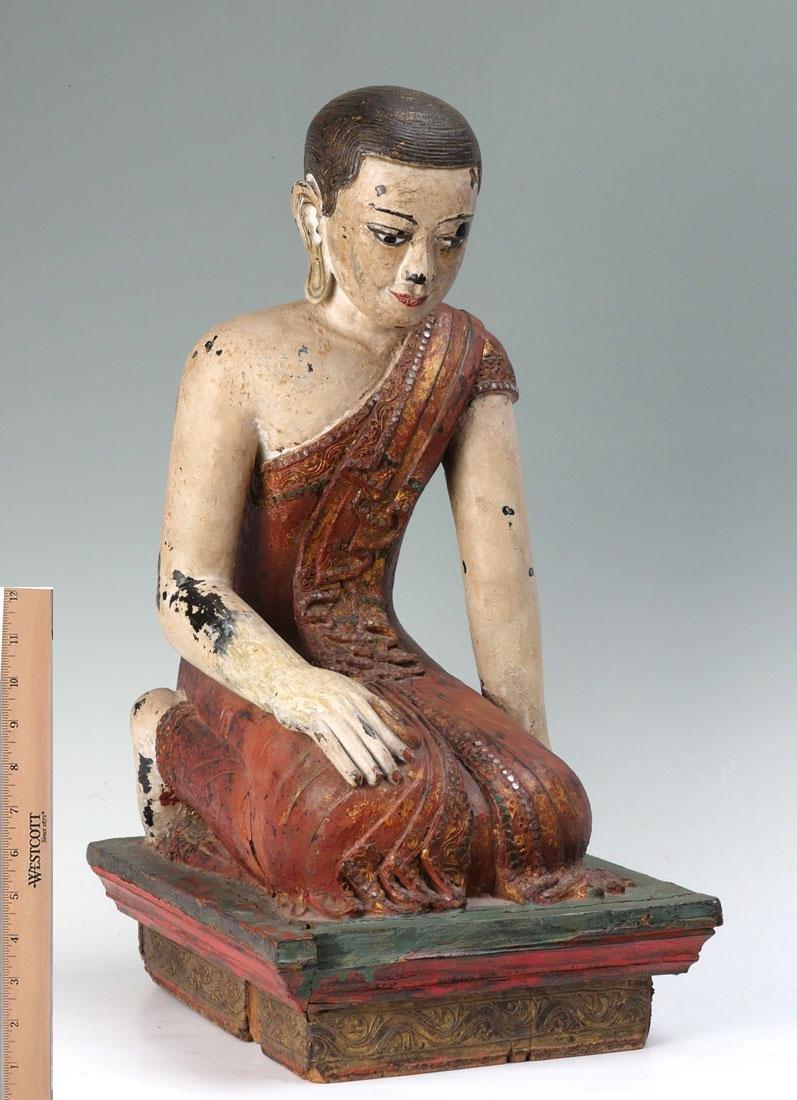 19TH CENTURY CARVED POLYCHROME KNEELING BUDDHA