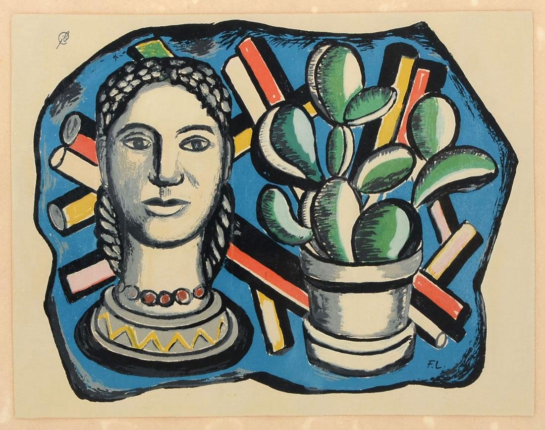 FERNAND LEGER SERIGRAPH WITH BUST AND CACTUS