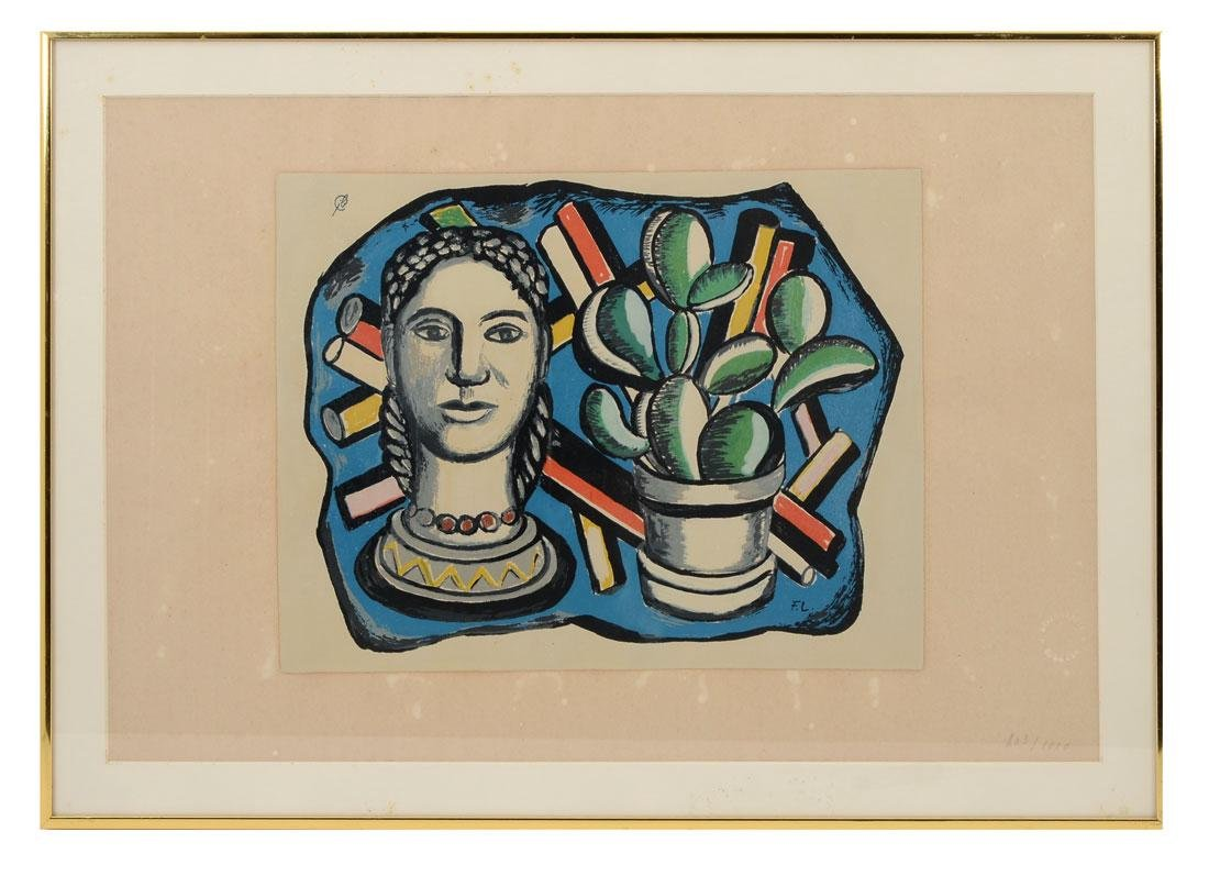 FERNAND LEGER SERIGRAPH WITH BUST AND CACTUS - 2
